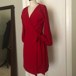 Red Cocktail Wrap Dress